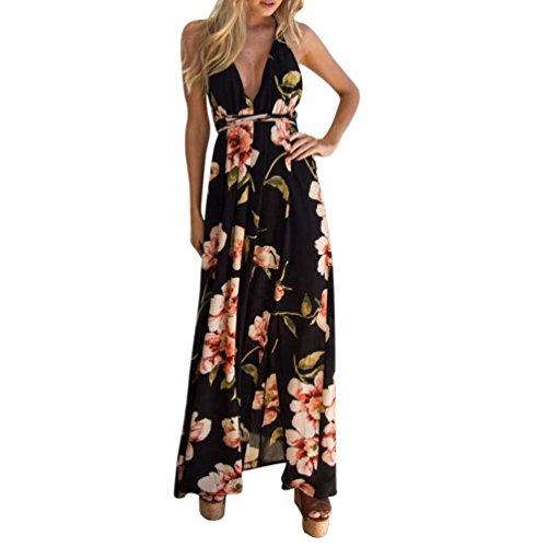 VENMO Sommerkleider Damen Frauen Sommer Boho Röcke Lange Abendkleid Strandkleid Sundress (M, Black)