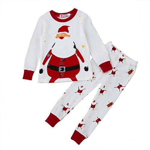 Weihnachten Babykleidung,Honestyi Weihnachten Kleidung neugeborenen Baby Boy Girl Christmas Home Outfits Pyjamas Tops + Hosen Set (Rot, 4T/110CM)