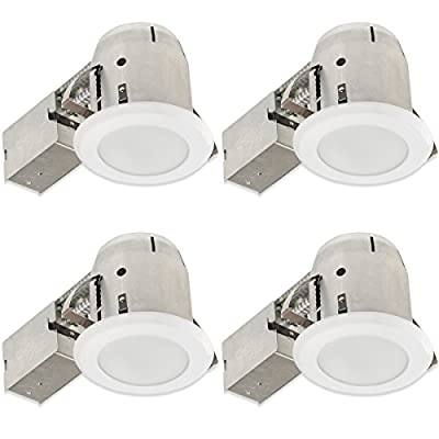 """4"""" LED IC Rated Recessed Bathroom Lighting Kit, Tempered Frosted Glass, Glossy White Finish, Easy Install Push-N-Click Clips, 1x GU10 LED Bulb Included, Globe Electric 90741"""