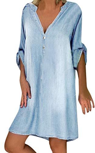 MAGIMODAC Jeanskleid Damen Jeanskleider Denim Jeans Minikleid Hemdkleid Blusenkleid Hemdblusenkleid Freizeitkleid Tunika Kleider (4-Hellblau, 44)
