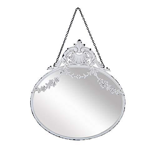 NIKKY HOME 26.2CM Specchio da Parete in Metallo Vintage con Specchio Rotondo a Sospensione Old Style per la Decorazione Domestica