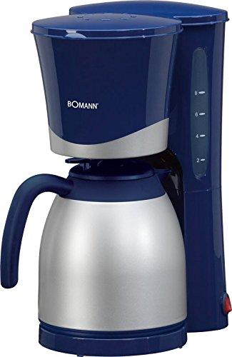Kaffeemaschine mit Thermokanne 1 Liter (Kaffeeautomat, 870 Watt, für ca. 10 Tassen Thermokanne, Nachtropfsicherung, Herausnehmbarer Filtereinsatz, silber-blau)