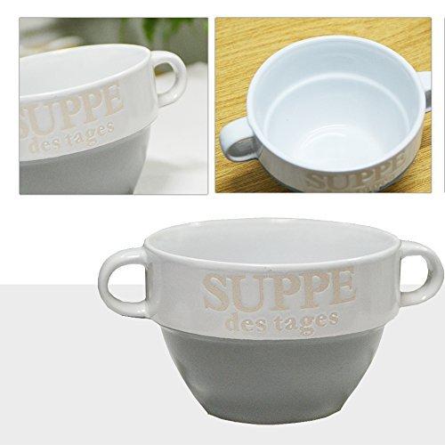DRULINE 6er Set Suppentasse Suppe Schüssel Suppenschüssel Tasse Weiß Keramik (Grau)
