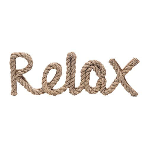 Beachcombers Natural Rope Relax Sign Wall Coastal Plaque Hanging Wood Composite Flax Sign Home Décor with Sayings 13.78x0.98x4.72 Brown