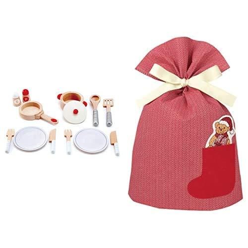Hape(ハペ) キッチンおままごとセット E3150A + インディゴ クリスマス ラッピング袋 ポケットバッグL ベア レッド XG501