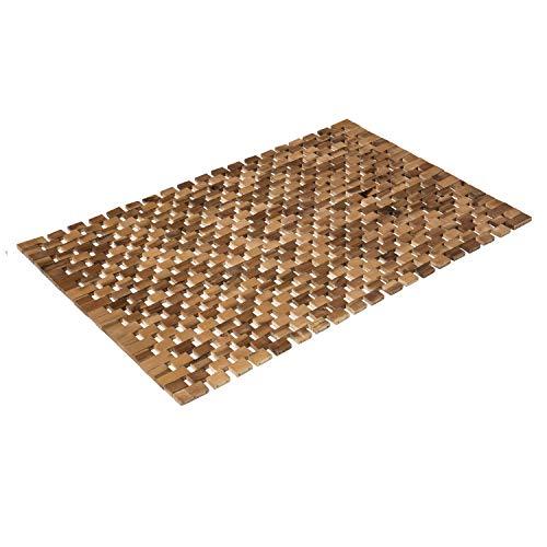 PANA Badematte Holz I Fußmatte 100% Akazienholz I Badvorleger Holz rutschfest I Holzmatte aus Echtholz I 80 x 50 cm