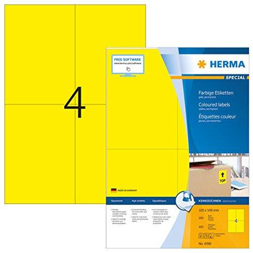 HERMA 4396 Farbige Etiketten DIN A4 (105 x 148 mm, 100 Blatt, Papier, matt) selbstklebend, bedruckbar, permanent haftende Farbetiketten, 400 Klebeetiketten, gelb