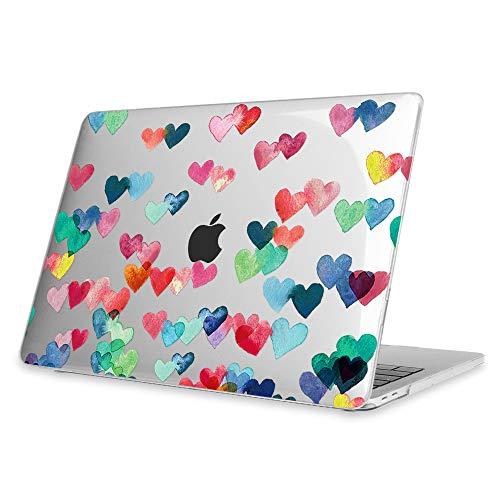 Fintie Funda para MacBook Pro 13 (2019/2018/2017/2016) - Súper Delgada Carcasa Protectora de Plástico Duro para Modelo A1989/A1706/A1708/A2159, Lluvia de Amor (Transparente)