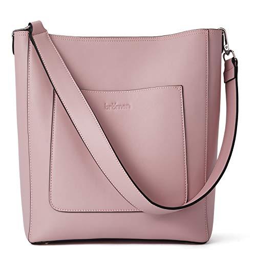 BROMEN Hobo Bags for Women Leather Handbags Designer Shoulder Bucket Crossbody Purse Pink