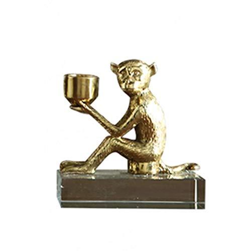 ZXL Candle Sconces Kaarsenhouder Metaal Dier Aap Kandelaar Home Accessoires Metalen Craft Decoratie Geschenken (Kleur : Goud, Maat : 13 * 22.5cm)