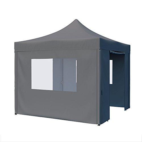 paramondo Faltpavillon Premium Plus 3 x 3 m, 2X Seitenwand-Tür 2X Seitenwand-Fenster, grau