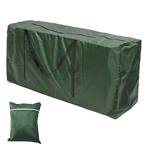 bottlewise Gartenmöbel-Aufbewahrungstasche, groß, strapazierfähig, wasserdicht, 210D Oxford-Gewebe, rechteckig, Möbel-Schutz, Kissenhülle mit Reißverschluss, Weihnachtsbaum-Zubehör, grün, 122*39*55CM