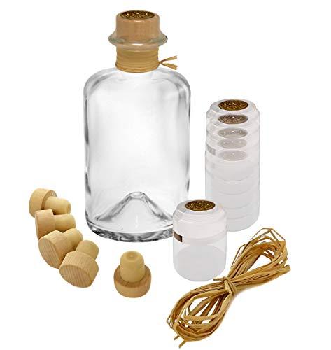5x Profi Set Apothekerflaschen leer 350 ml Glas Flaschen mit Korken Bast Schrumpfkapsel gold zum selbst befüllen VERSAND INNERHALB 24 STD!