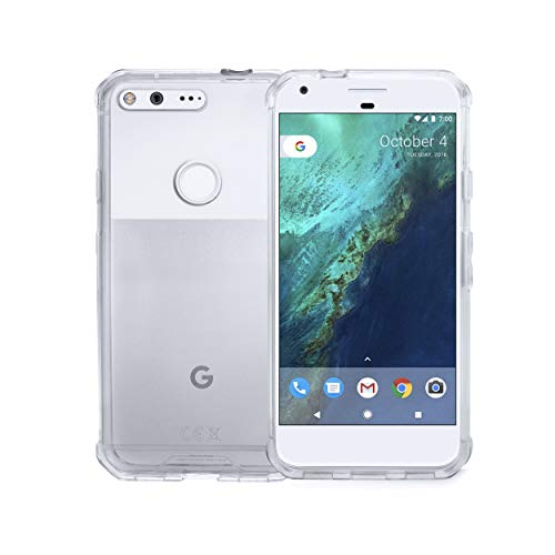 ROOCASE Google Pixel 1 Case, Plexis Ultra Slim and Lightweight TPU PC Cover Designed for Google Pixel 1 5.0in (2016), Clear Nevada