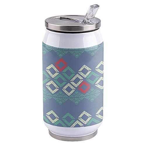 10oz Stainless Steel Liner Vacuum Tumbler Geometric Ethnic Decor Thermal Insulation Vacuum Cup with Straw & Slider Lid Grey Portable Cola Can for Travel, Sports, Camping