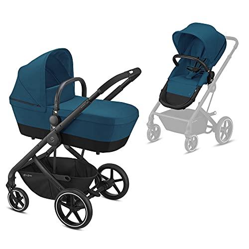 CYBEX Balios S 2-in-1 Kinderwagen, Einhand-Faltmechanismus, Ab Geburt bis 22 kg (ca. 4 Jahre), River Blue mit schwarzem Gestell