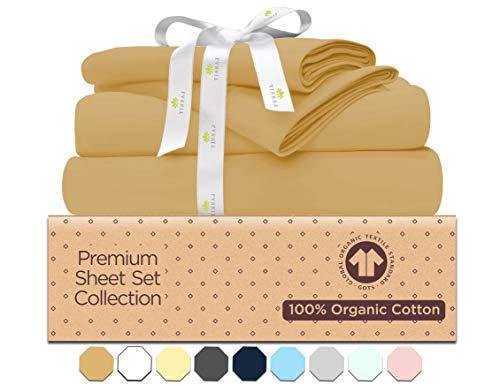 Queen Size Sheet Sets - Camel Khakhi - 100% GOTS Certified Organic Cotton Bed Sheet Set -500 Thread Count - 4 Piece Bedding - 2 Pillow Cases,Flat Sheet & Fitted Sheet Fits 16 Inch Deep Pocket Mattress