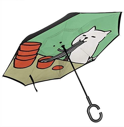 Big Stick Umkehr-Regenschirm, 2-lagig, faltbar, Winddicht, UV-Schutz, wasserdicht, mit C-förmigem Griff, Katzen-Nudeln, für Auto, Regen, Outdoor, 8 Skelett