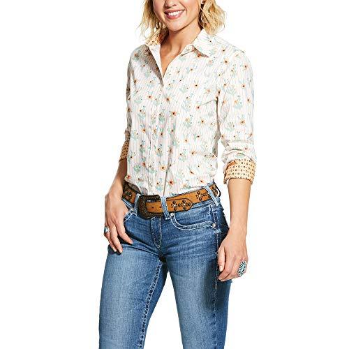 ARIAT Women's Wrinkle Resist Kirby Stretch Shirt Blue Size 2X
