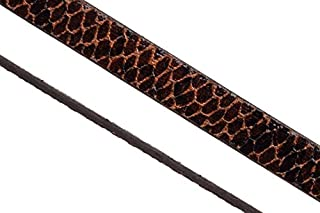 Faux snakeskin flat cord slider bead, Moccasin 10x2mm sold per 4x7.8inch