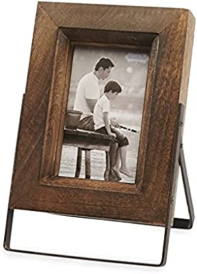 """Mud Pie Distressed Wood Easel 4"""" x 6"""" Picture Frame, Brown"""