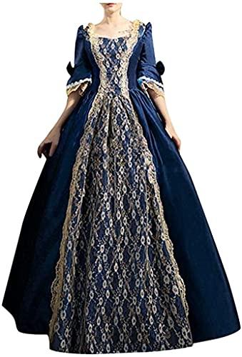 Babaseal Disfraz de princesa gtica de Halloween Cosplay Dulce Lolita Medieval Renacimiento Vestido, Azul marino/flor y brillo, 4X-Large