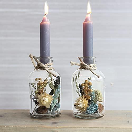 Flores secas en tarro de cristal con velas, flores jarrón, 2 unidades,...