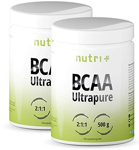 BCAA Pulver 1kg - 2:1:1 - HÖCHSTDOSIERTE BCAAS - Geschmack: Neutral - essentielle Aminos - vegan powder unflavored - 1000g pur ohne Magnesiumstearat, Gelatine, Zucker und Zusatz