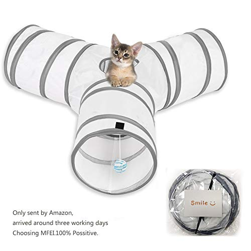 Cat Play Tunnel, MFEI Pet Tunnel 3 Way Crinkle Tubo plegable Toy Tunnel para gatos Conejos, perros, mascotas