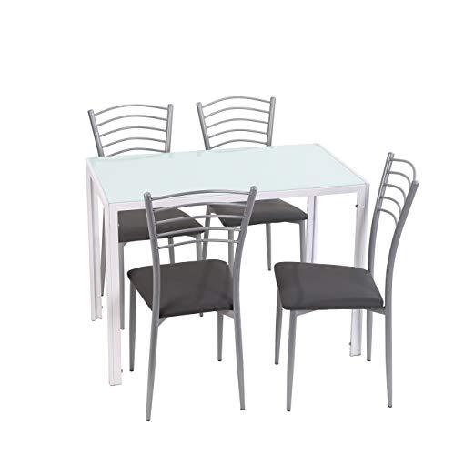 Noorsk Design Conjunto de Mesa y sillas de Cocina (105x60x75) (Blanco-Gris)
