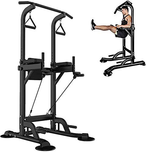 UMIKOOL DIRECT Power Tower Pull Up Bar Stand &Dip Station Adjustable Height Multi-Function Fitness Training Equipment Home Gym