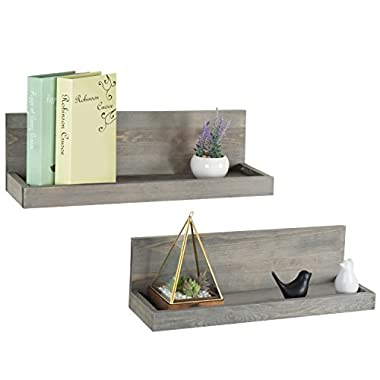 24 inch Vintage Design Wall Mounted Floating Wood Shelves with Gray Finish, Set of 2