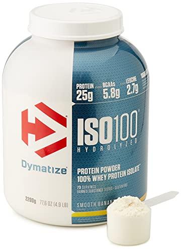 Dymatize ISO 100 Smooth Banana 2,2kg - Hidrolizado de Proteína de Suero Whey + Aislado en Polvo