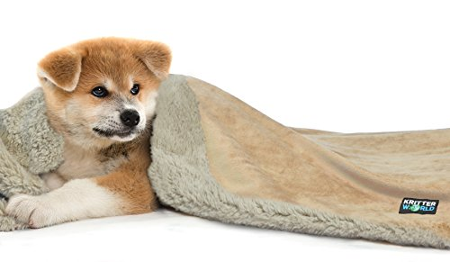 """Tirrinia Pet Dog Cat Puppy Kitten Microplush Sherpa Snuggle Blanket for Couch, Car, Trunk, Cage, Kennel, Dog House, 45"""" x30"""" Latte/Tan"""