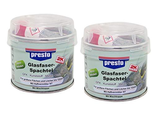 Presto 2K Glasfaserspachtel 2 Stück á 250 g grau-grün Holz Beton Styrol Reduzier