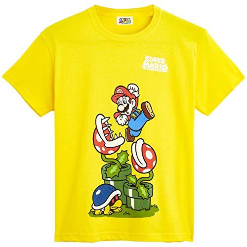 Super Mario T Shirt, Tshirt Kinder Jungen, 100% Baumwolle Shirt Kurzarm Gelb, Sommer Kleidung Kinder, Super Mario Fanartikel, Kleine Geschenke für Kinder (7-8 Jahre)
