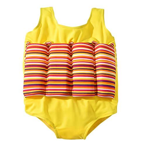BenCreative Kinder Mädchen Schwimmdock einteiliger Badeanzug Abnehmbare Buoyancy Swimwear Yellow 130cm/6-7Y