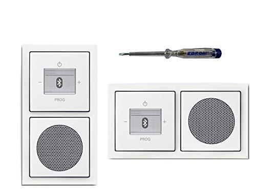 Busch Jäger Unterputz UP Bluetooth Radio 8217 U (8217U) Future Linear Studioweiß glänzend KomplettSet Radio + Lautsprecher + 2fach Rahmen 1722-184K + Abdeckungen + EBROM Phasenprüfer zur Montage