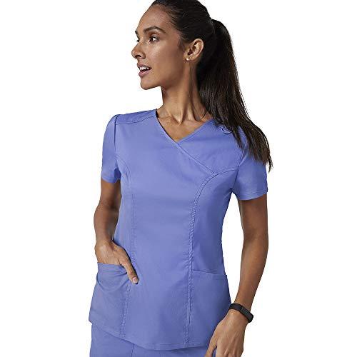 Jaanuu Women's Mock Wrap Neck Scrubs Top Medical Uniform W/Stretch Fabric | Women's Fashion Nurse or Doctor Workwear with ForminaFlex Fabric | XX-Small Ceil Blue (Apparel)