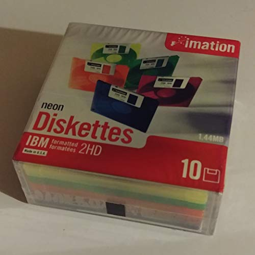 Imation Neon Floppy Diskettes IBM Formatted 1.44MB 2HD (10)