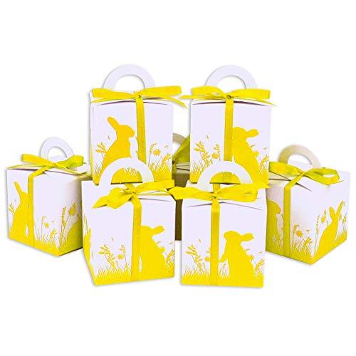 Papierdrachen DIY Osterhasen Kisten - gelber Aufdruck - weiße Geschenkboxen zu Ostern - Geschenkverpackung zum Befüllen - für Kinder und Erwachsene