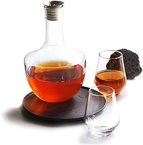 Jarra y Vasos de Whisky Hombres Grabados Whisky Decanter Jarrafe con tapón, Aeroador de Vino Tinto 100% Vidrio sin Plomo soplado a Mano con sput de Vino, Accesorios de Vino Regalo
