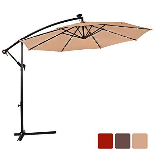 COSTWAY Ø300cm Ampelschirm LED-Sonnenschirm, Gartenschirm mit Solarlichtern, Terrassenschirm neigbar, Strandschirm für Garten, Terrasse, Pool oder Veranda (Beige)