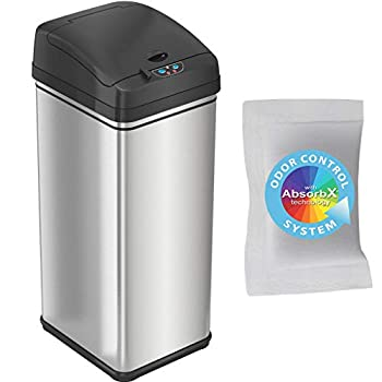 iTouchless 13 Gallon Pet-Proof Sensor Trash Can with AbsorbX Odor Filter Stainless Steel Kitchen Garbage Bin Prevents Dogs & Cats Getting in Battery and AC Adapter  Not Included  13 Gal PetGuard