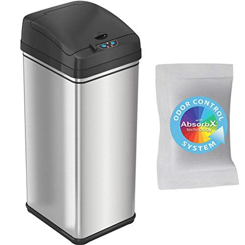 iTouchless 13 Gallon Pet-Proof Sensor Trash Can with AbsorbX Odor Filter Kitchen Garbage Bin Prevents Dogs & Cats Getting in, Battery and AC Adapter (Not Included), Stainless Steel and PetGuard