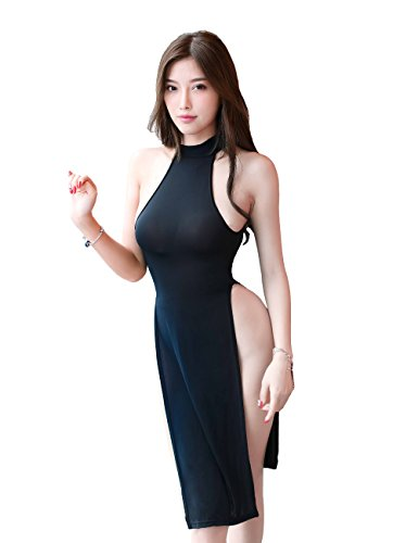 YUANMO Women's Lingerie Nightshirt Uniform Temptation Sleeveless Mini Cheongsam Sleepwear