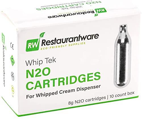 Whip Tek 8g N2O Cartridge - for Whipped Cream Dispenser - 10 count box - Restaurantware