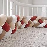 GLITZFAS Bettausstattung Kantenschutz Kopfschutz für Babybett Baby Nestchen Bettumrandung Weben Geflochtene Stoßfänger Dekoration für Krippe Kinderbett 220cm (Weiß + Beige + Khaki + Rot)