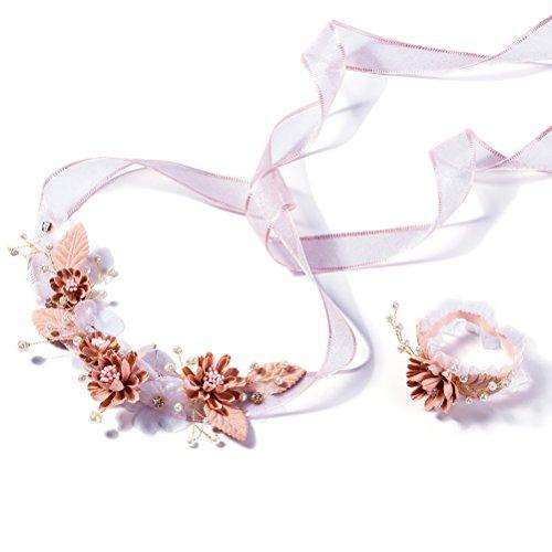 LUOEM Mädchen Blume Krone Kopfschmuck Blumenmädchen Stirnbänder Erstkommunion Stirnband Blumenkranz Handgelenk Band für Braut Hochzeit Haarschmuck