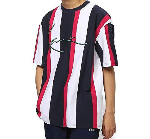 KARL KANI uomo t-shirt KKMQ12020 KK SIGNATURE STRIPE TEE M Blu-Rosso-Bianco